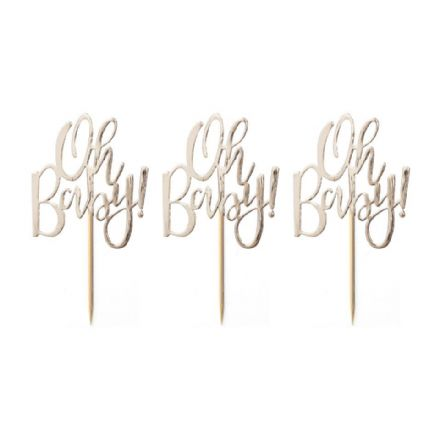 Oh Baby! Gold Cupcake Toppers